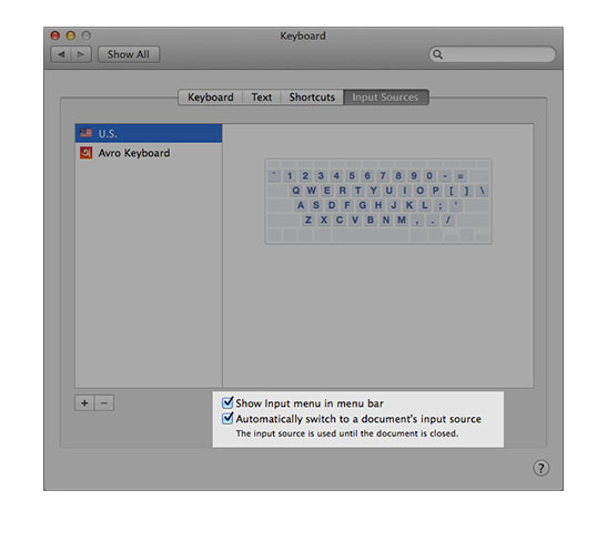 d12ba91025c To select a shortcut for switching input methods, go to System Preferences,  Keyboard, Shortcuts, then select Input Sources, enable Select the previous  input ...